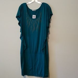 Emerald/teal cotton mini dress